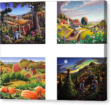 seasonal farm country folk art-set of 4 farms prints amricana American Americana print series Canvas Print by Walt Curlee