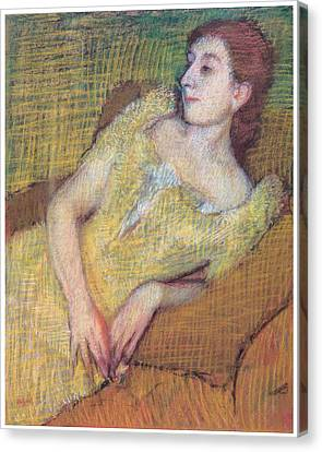 Seated Woman In A Yellow Dress Canvas Print by Edgar Degas