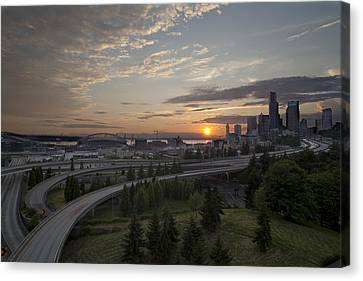 Seattle Arrival Sunset Canvas Print by Mike Reid