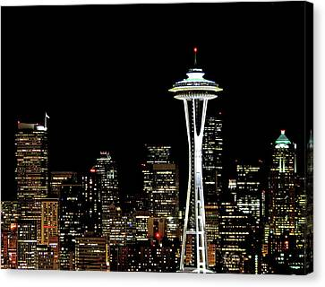 Seattle Skyline With Space Needle Canvas Print by Tim Ford