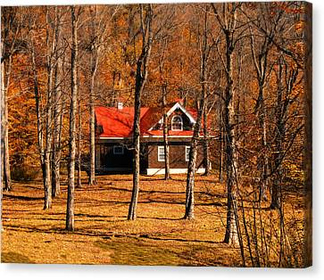 Secluded Red Roof Cottage In An Autumn Scene Canvas Print by Chantal PhotoPix