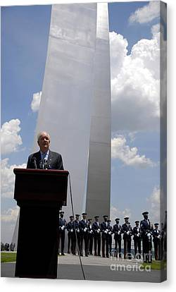 Secretary Of The Air Force Salutes Canvas Print by Stocktrek Images