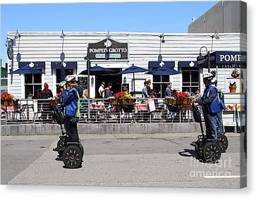 Segway Patrol At Pompeis Grotto Restaurant . Fishermans Wharf . San Francisco California . 7d14198 Canvas Print by Wingsdomain Art and Photography