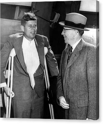Senator John F. Kennedy, On Crutches Canvas Print by Everett