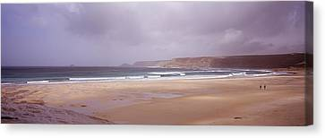 Sennen Cove Beach At Sunset Canvas Print by Axiom Photographic