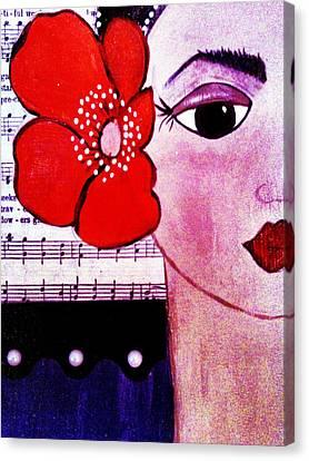 Senorita Con Flor Canvas Print by Lucia Meza