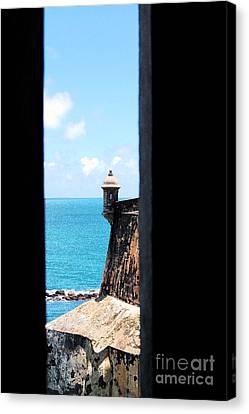 Sentry Tower View Castillo San Felipe Del Morro San Juan Puerto Rico Ink Outlines Canvas Print by Shawn O'Brien