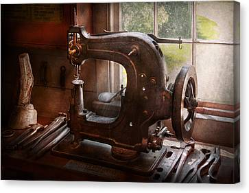 Sewing Machine - Leather - Saddle Sewer Canvas Print by Mike Savad