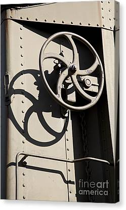 Shadows Of The Train Canvas Print by Leslie Leda