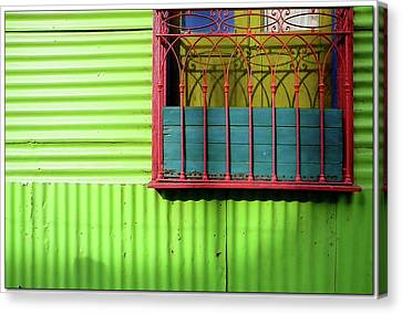 Shadows On A Colorful Window Canvas Print by by Felicitas Molina