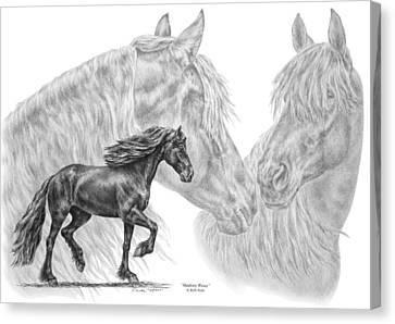 Shadowy Waves - Friesian Horses Art Print Canvas Print by Kelli Swan