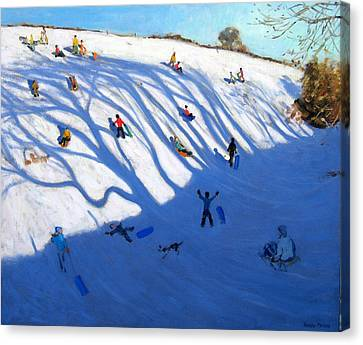 Shandows On A Hill Monyash Canvas Print by Andrew Macara