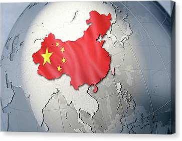 Shape And Ensign Of China On A Globe Canvas Print by Dieter Spannknebel