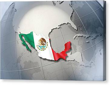 Shape And Ensign Of Mexico On A Globe Canvas Print by Dieter Spannknebel