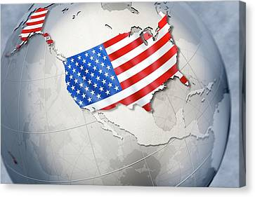 Shape And Ensign Of The Usa On A Globe Canvas Print by Dieter Spannknebel