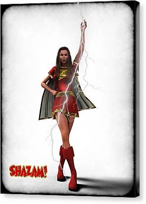 Shazam - Mary Marvel Canvas Print by Frederico Borges