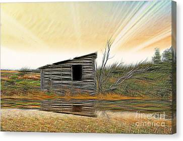 Shed In The Field Canvas Print by Vickie Emms