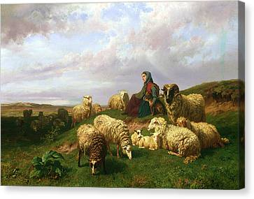 Shepherdess Resting With Her Flock Canvas Print by Edmond Jean-Baptiste Tschaggeny