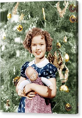 Shirley Temple Holding Doll Canvas Print by Everett
