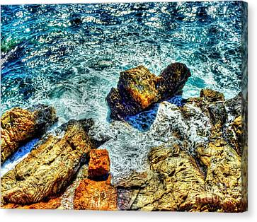 Shores Of The Aegean Canvas Print by Michael Garyet