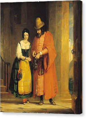 Shylock And Jessica From 'the Merchant Of Venice' Canvas Print by Gilbert Stuart Newton