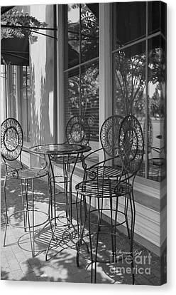 Sidewalk Cafe - Afternoon Shadows Canvas Print by Suzanne Gaff