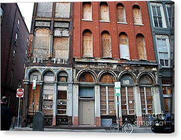 Silent City Store Fronts Canvas Print by Extrospection Art