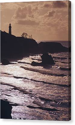 Silhouette Of Lighthouse Canvas Print by Craig Tuttle