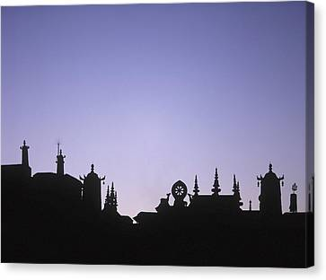 Silhouette Of The Front Of The Jokhang Canvas Print by Axiom Photographic