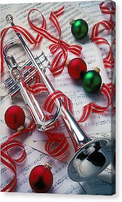 Silver Trumper And Christmas Ornaments Canvas Print by Garry Gay