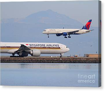 Singapore Airlines And Delta Airlines Jet Airplane At San Francisco International Airport Sfo Canvas Print by Wingsdomain Art and Photography