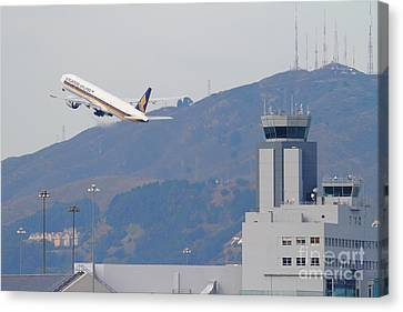 Singapore Airlines Jet Airplane Over The San Francisco International Airport Sfo Air Control Tower Canvas Print by Wingsdomain Art and Photography