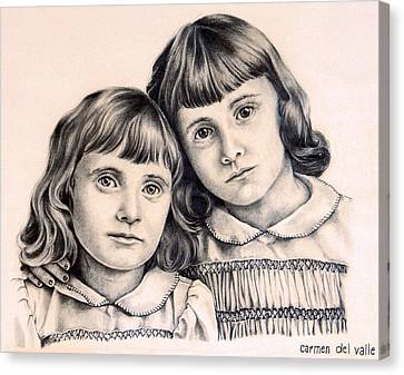 Sisters Canvas Print by Carmen Del Valle