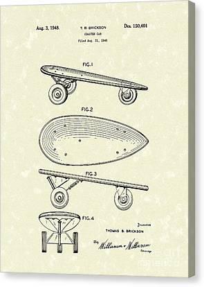 Skateboard Coaster Car 1948 Patent Art  Canvas Print by Prior Art Design