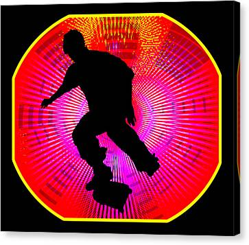 Skateboarding On Fluorescent Starburst Canvas Print by Elaine Plesser