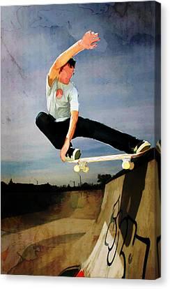 Skateboarding The Wall  Canvas Print by Elaine Plesser