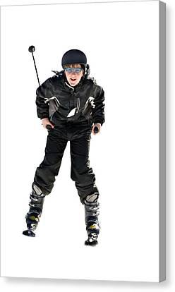 Skier Flying Canvas Print by Susan Leggett