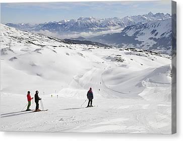 Skier On Ski-slope - Winter Landscape Canvas Print by Matthias Hauser