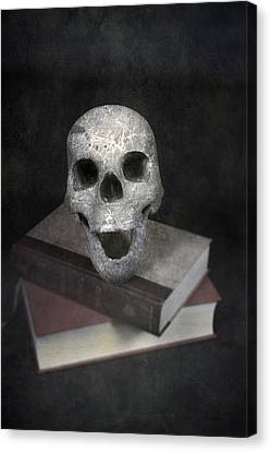Skull On Books Canvas Print by Joana Kruse