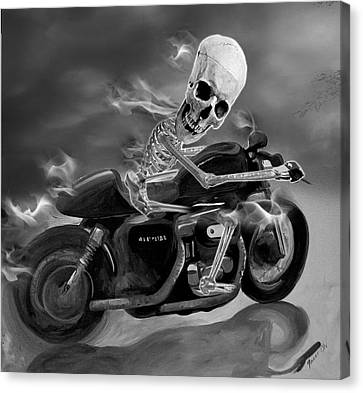 Skull Rider On Cafe Sportster Canvas Print by Janet Oh