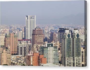 Skyline Of Downtown Taipei On A Smoggy Day Canvas Print by Jeremy Woodhouse