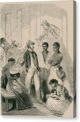 Slave Market In The United States Canvas Print by Everett