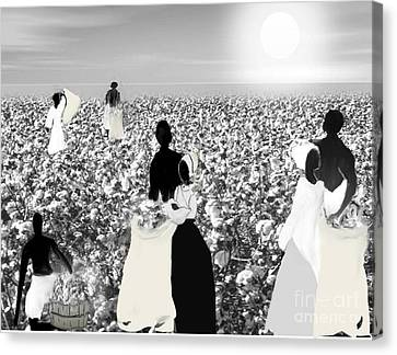 Slaves Picking Cotton Canvas Print by Belinda Threeths