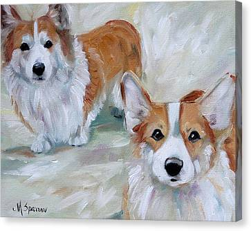 Smarty And Rosie Canvas Print by Mary Sparrow