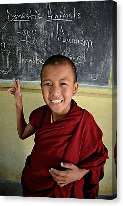 Smiley Monk Canvas Print by Valerie Rosen