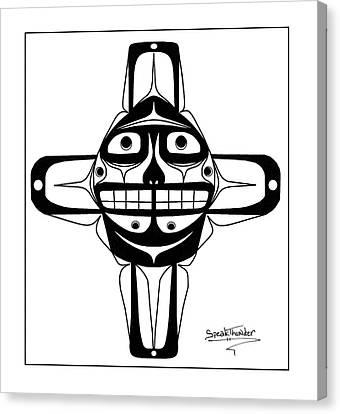 Smiling Sun Black Canvas Print by Speakthunder Berry