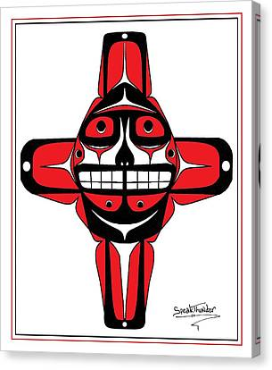 Smiling Sun Red Canvas Print by Speakthunder Berry