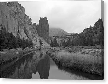 Smith Rock State Park In Black And White Canvas Print by Twenty Two North Photography