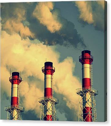 Smoke Coming From Big Chimneys, Moscow Canvas Print by Fedor Vilner