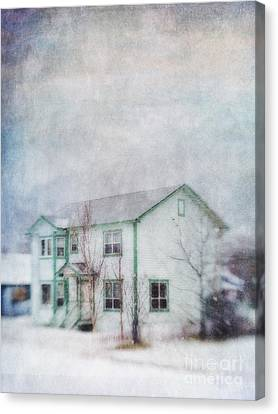 Snow Flurry 'round My Neighbor's House Canvas Print by Priska Wettstein